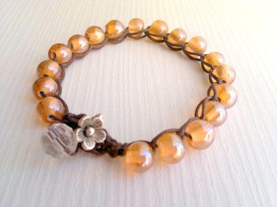 murano salmon bead wrap bracelet Spring by theflowerdesign on Etsy, $21.90