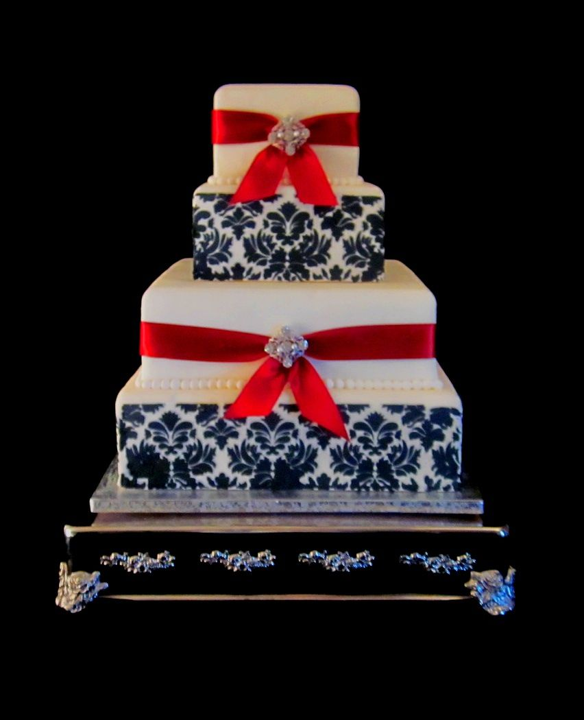 Wedding Cake Black Red And White Damask The Twisted Sifter Lexington KY