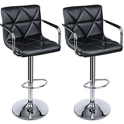 Adjustable Bar Stool Arms Back Leather 2 Seat Chair Swivel Bar