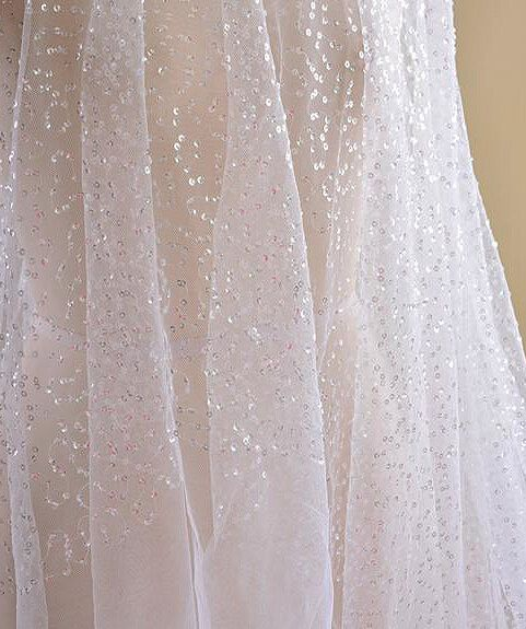 433a1449ae290 Sequin Beaded Tulle Fabric Mesh Fabric for bridal by LaceNTrim ...