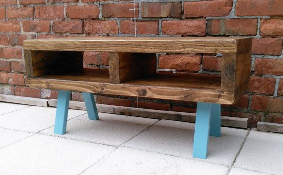 Tv stand contemporary rustic industrial tv unit or coffee table legs finished in a funky light blue