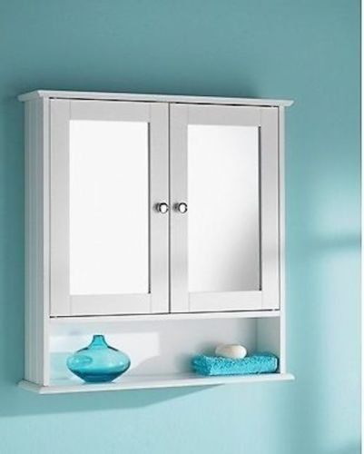 New England White Wood Double Mirrored Bathroom Wall Cabinet