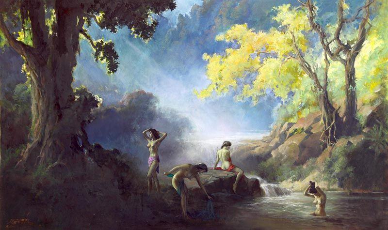Basuki Abdullah Painting Pemandangan Mandi