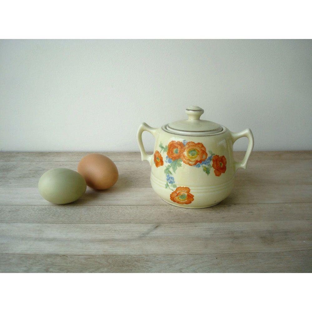 Kitchen Accessories China: Orange Poppy Sugar Bowl - Hall Pottery