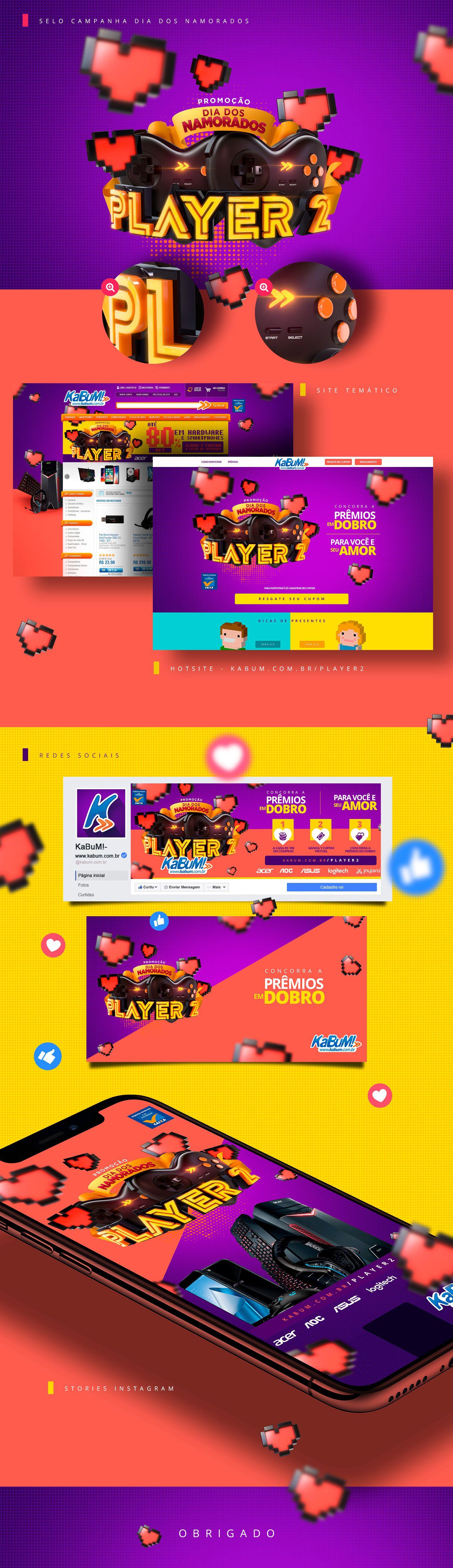 Promoção Dia Dos Namorados Player 2 Kabum On Behance Graphic Design Advertising Social Media Design Maxon Cinema 4d