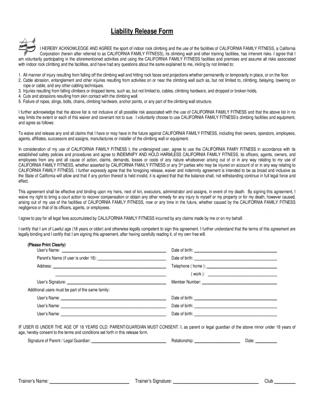 California Release Of Liability Form Throughout General Release Of Liability Form California Liability Liability Waiver Form