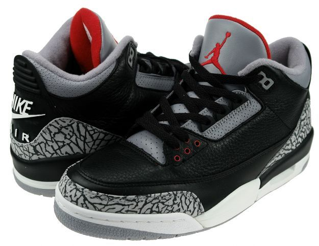 nike air jordan 3 iii retro black cement grey red sox