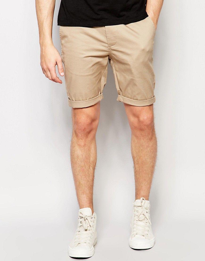 ASOS Skinny Chino Shorts In Stone - Stone