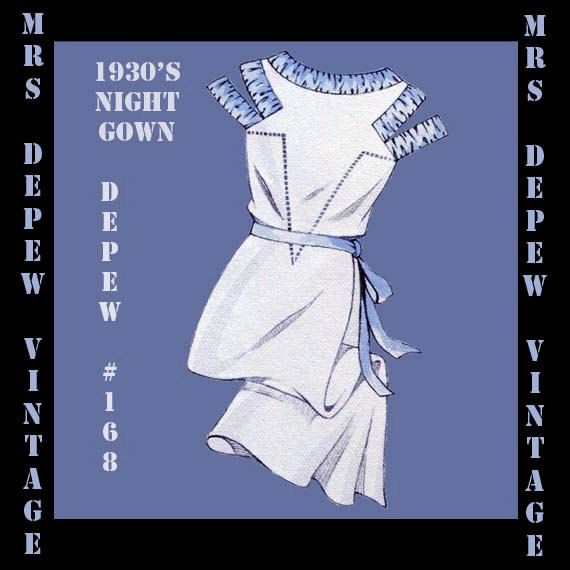 This is a digital draft-at-home pattern for a stunning French night gown from the 1930s. The full-length nightgown has a wonderful bateau neckline and