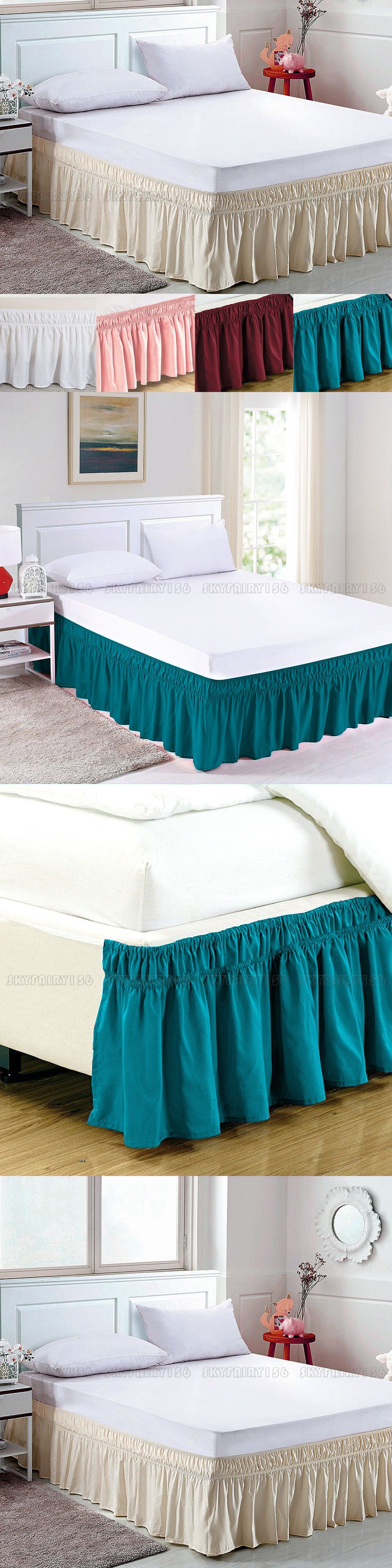 Elastic Bed Skirt Dust Ruffle Easy Fit Wrap Around Twin Full Queen King Size Ebay Bedskirt Bed Skirt Ideas Modern Bed Skirts Ideas