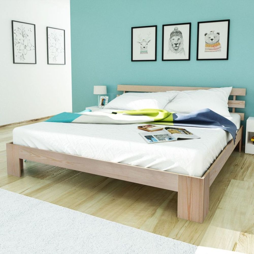 Bed frame solid pinewood queen size bed plywood natural sturdy