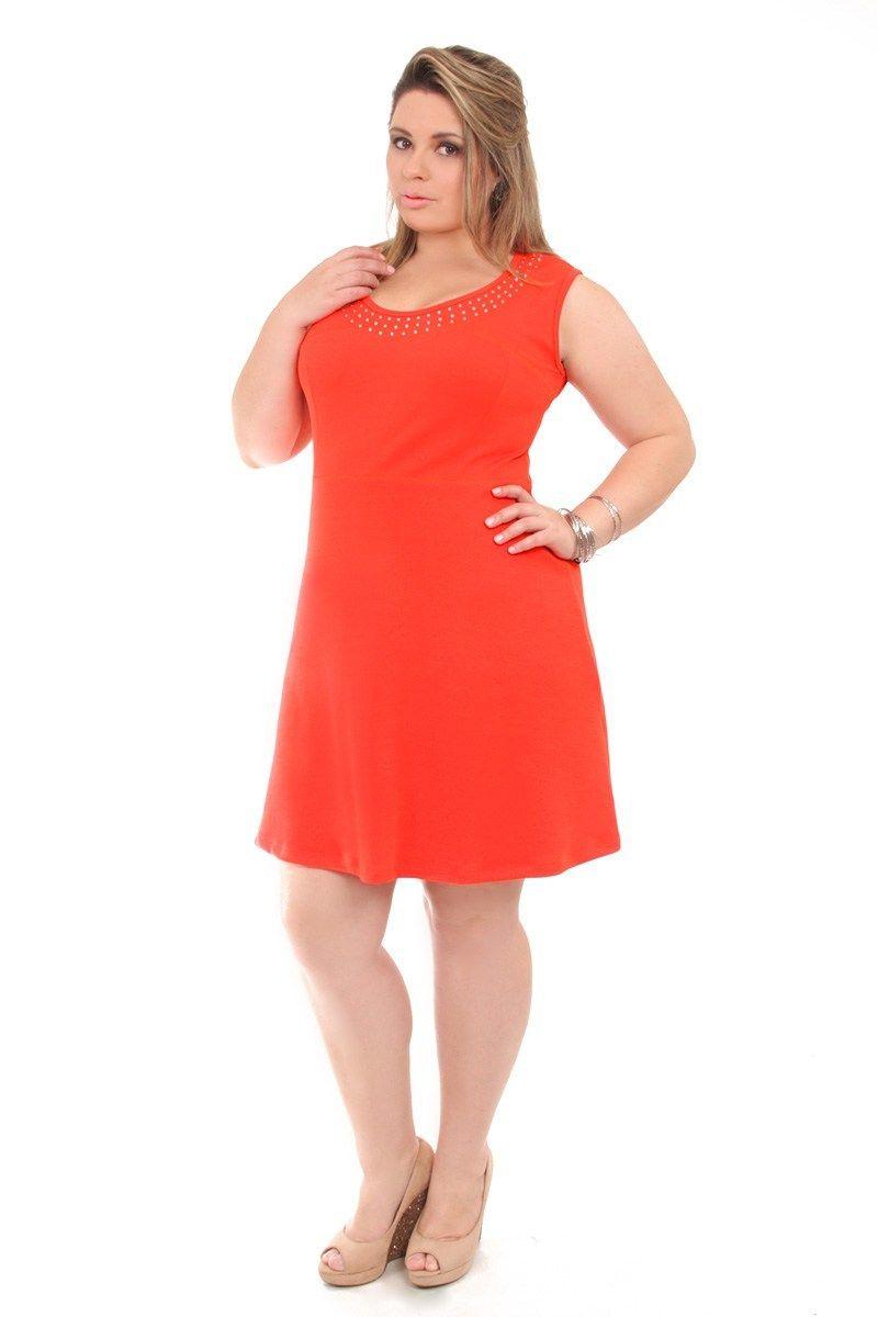 Vestido curto crepe  laranja plus size