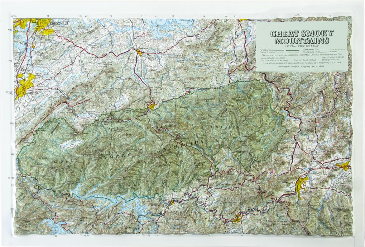 Hubbard Scientific Raised Relief Map Great Smoky Mtn