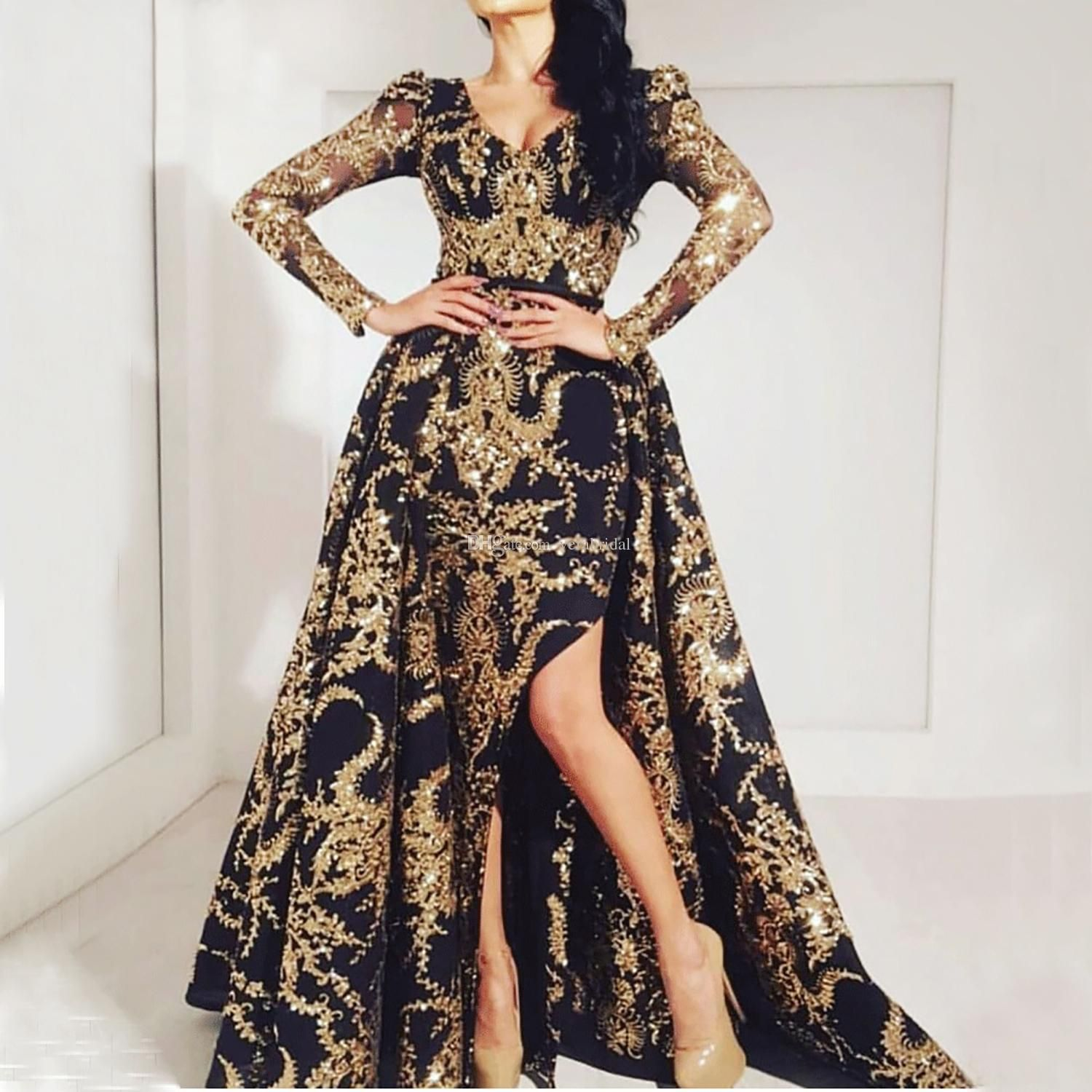 Saudi Arabic Mermaid Evening Dress Long Sleeves 2019 Elegant Kaftan Dubai Moroccan Prom Dresses With Over Skirt Train Party Gown Weddings & Events