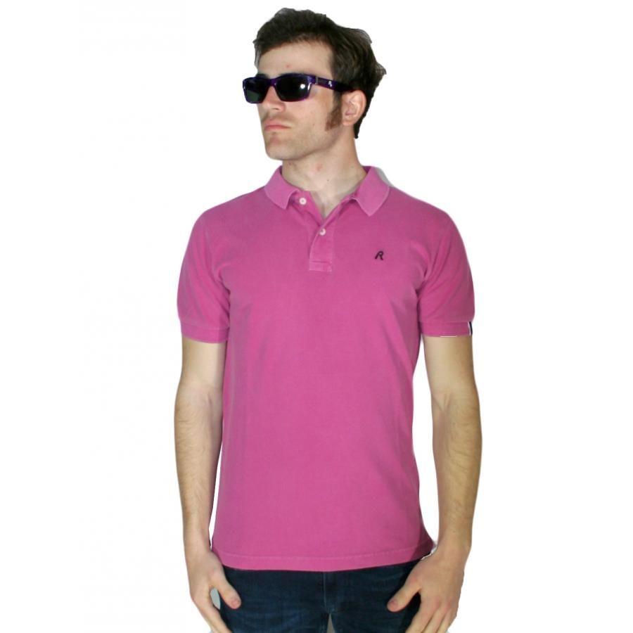8a9fb5fa1d04 REPLAY Ανδρική φούξια κοντομάνικη πόλο μπλούζα Μ3194