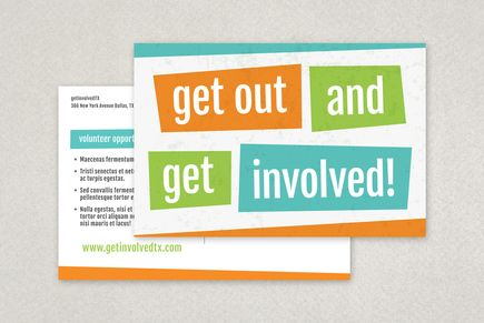 Bright Bold Volunteer Flyer Template Postcard Design Templates