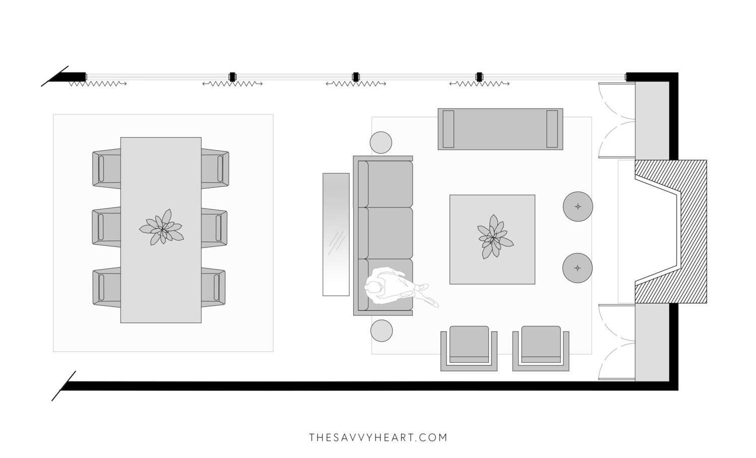 Turn your living room into a lovely space that's relaxing yet functional by selecting the right lighting. Living room floor plans, Rectangular living rooms, Living ...