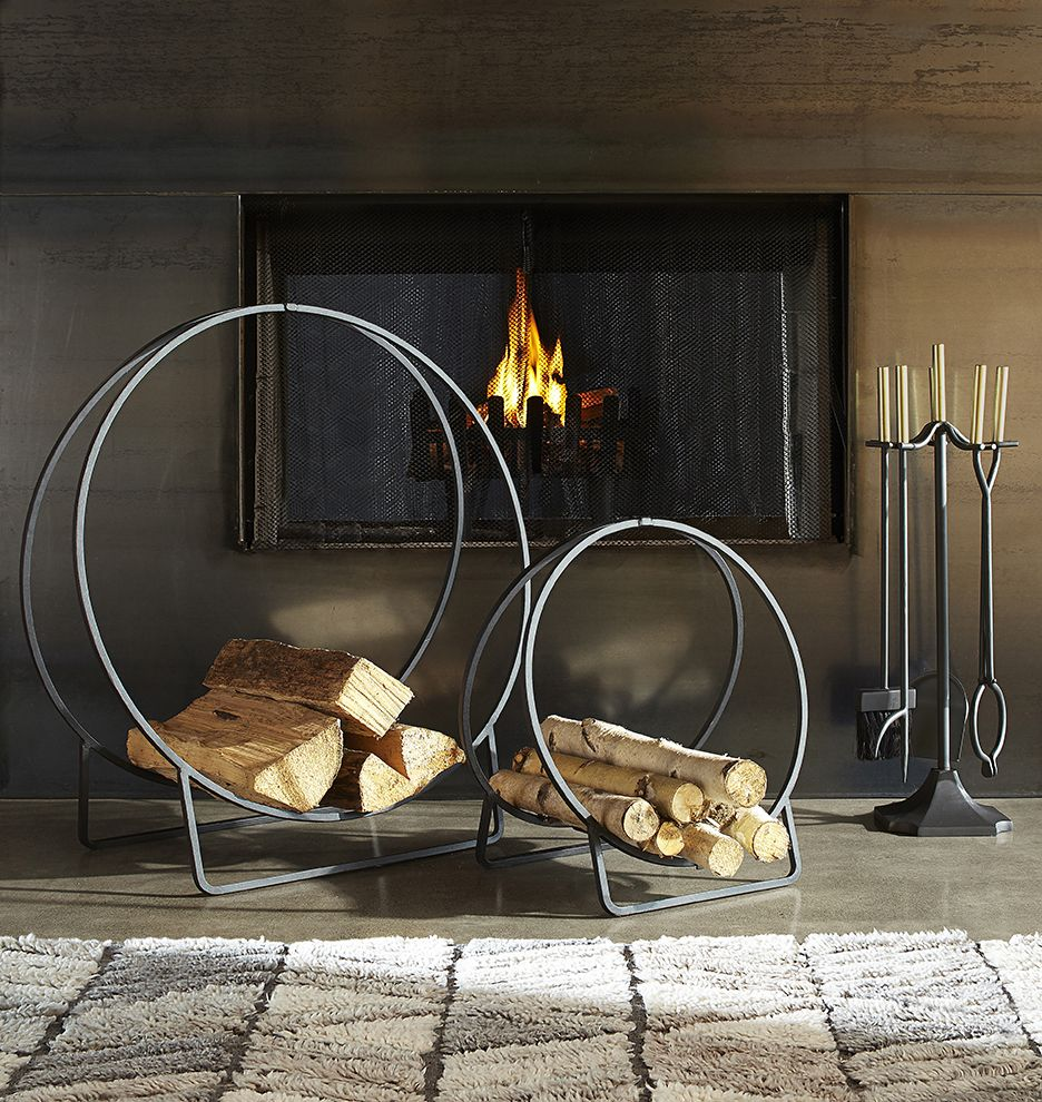 Iron Hoop Log Holder Available in 2 Sizes E2434