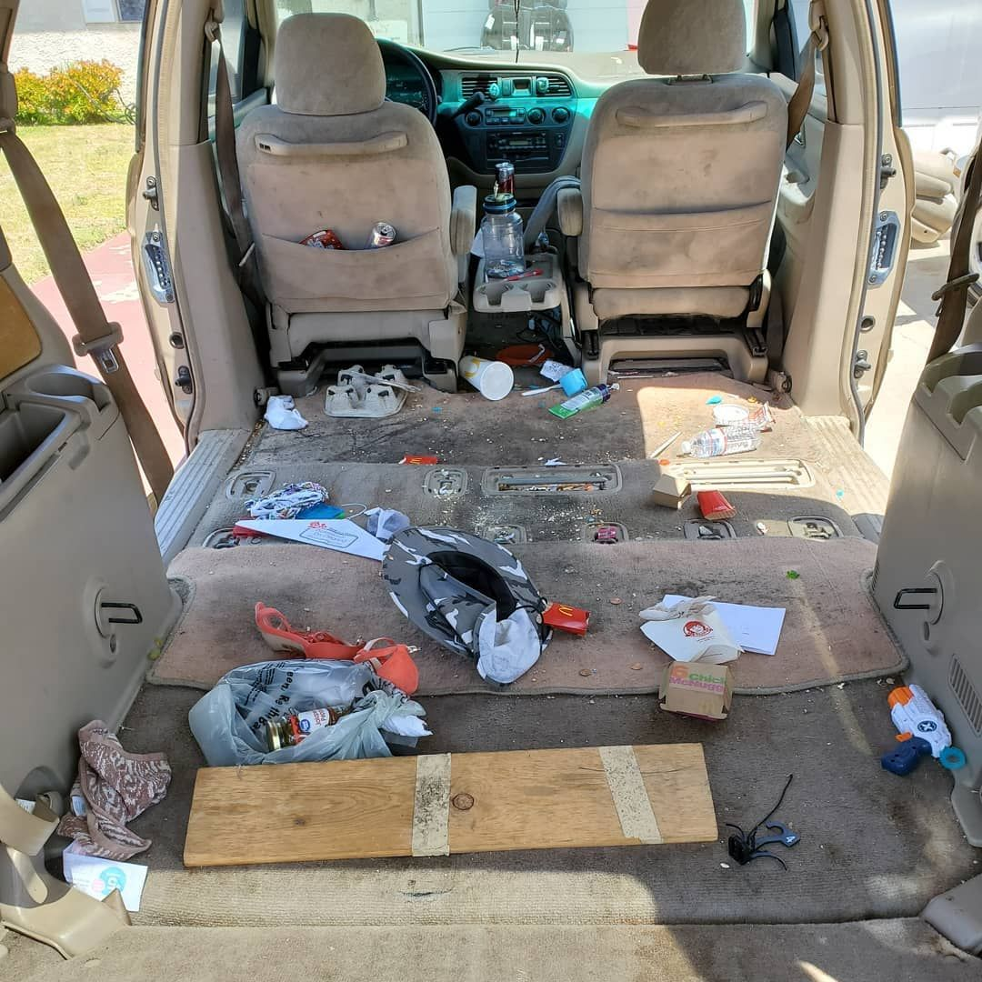 Check out this heavily stained/ trashed van before and