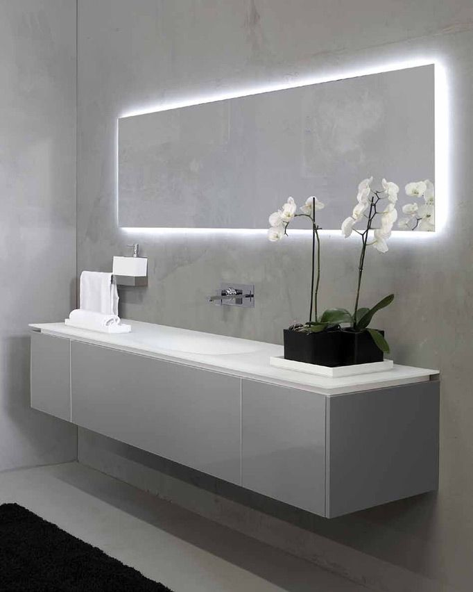 Modern bathroom mirrors Minimalist Bathroom Espejo Con Luz Indirecta Lavabo Encimera Continuo Cottage Bathroom Mirrors Bathroom Mirror Cabinet Pinterest Espejo Con Luz Indirecta Lavabo Encimera Continuo Lighting