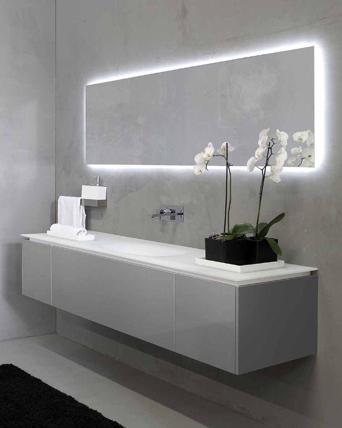 Espejo con luz indirecta lavabo encimera continuo - Luces espejo bano ...