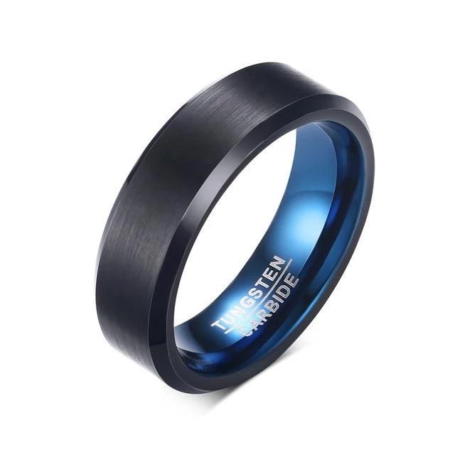 Neon Blue Matte Black Tungsten Ring