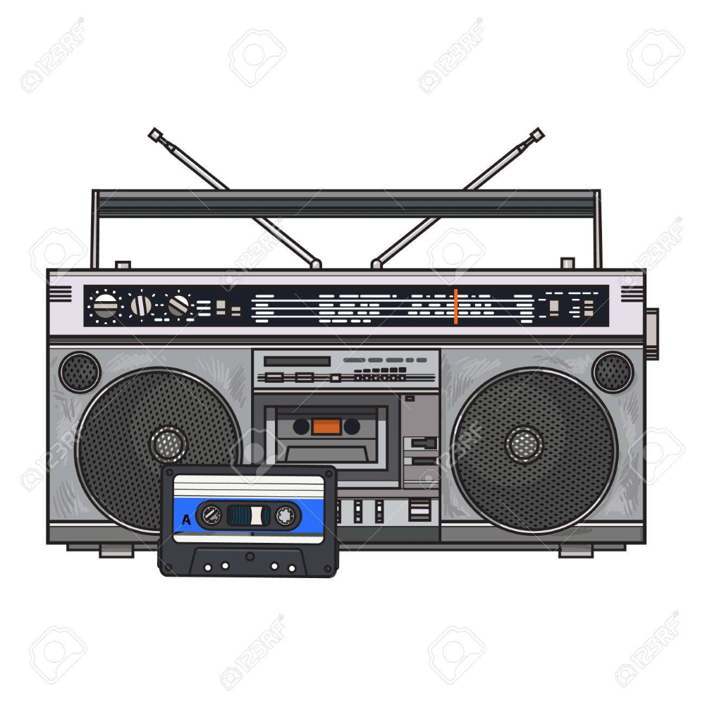 Old Fashioned Audio Tape Recorder Ghetto Boom Box And Audiotape Royalty Free Cliparts Vectors And Stock Illustration Image Boombox Art Audio Tape Boombox
