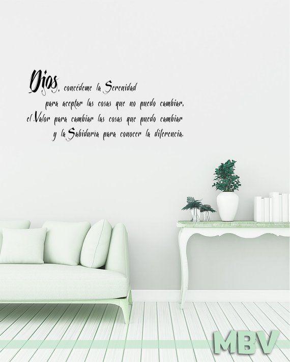 spanish serenity prayer wall quote / wall decal / oracion de la