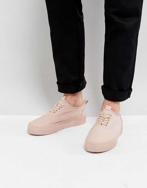 ASOS Lace Up Sneakers In Pink Canvas With Chunky Sole