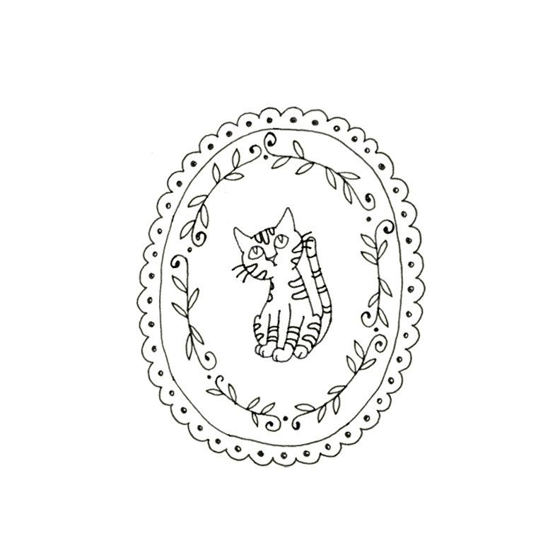 Cat Embroidery Pattern Kitty Digital Downloadable Pdf Hand