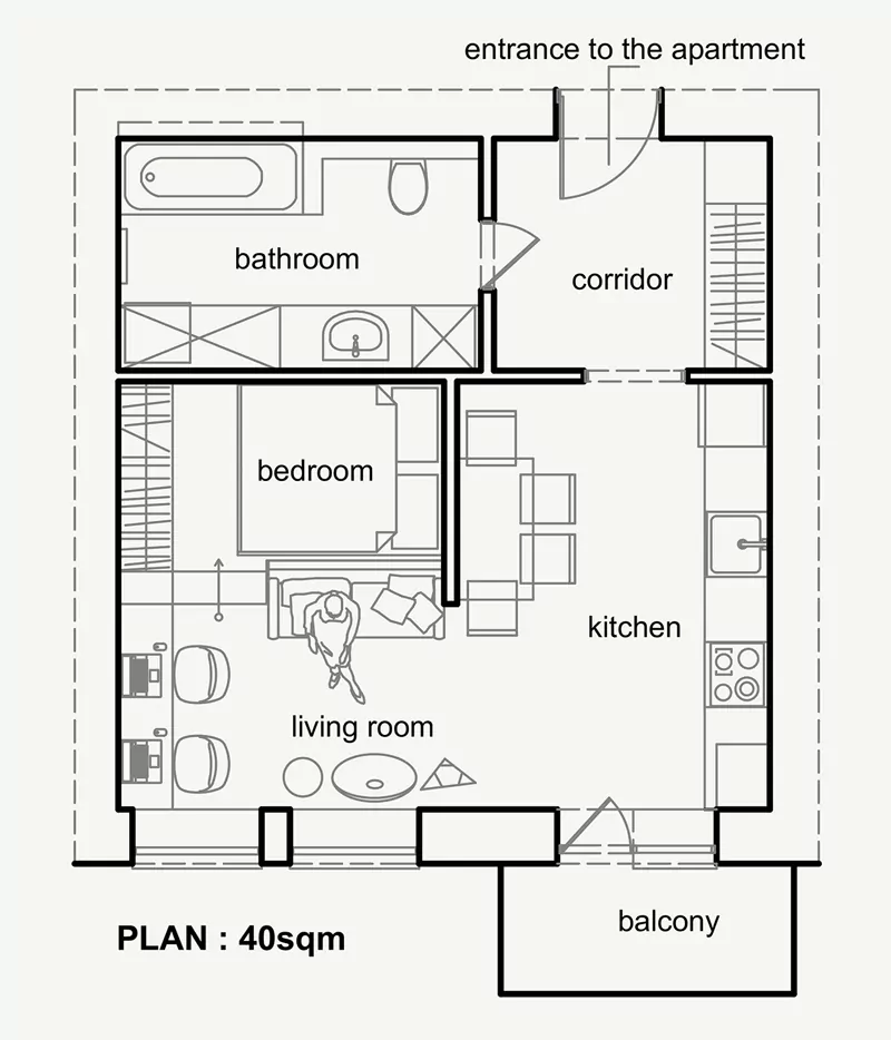 Living Small With Style Beautiful Small Apartment Plan Under 50 Sqm Ukraine Small Apartment Plans Apartment Plans Apartment Floor Plans