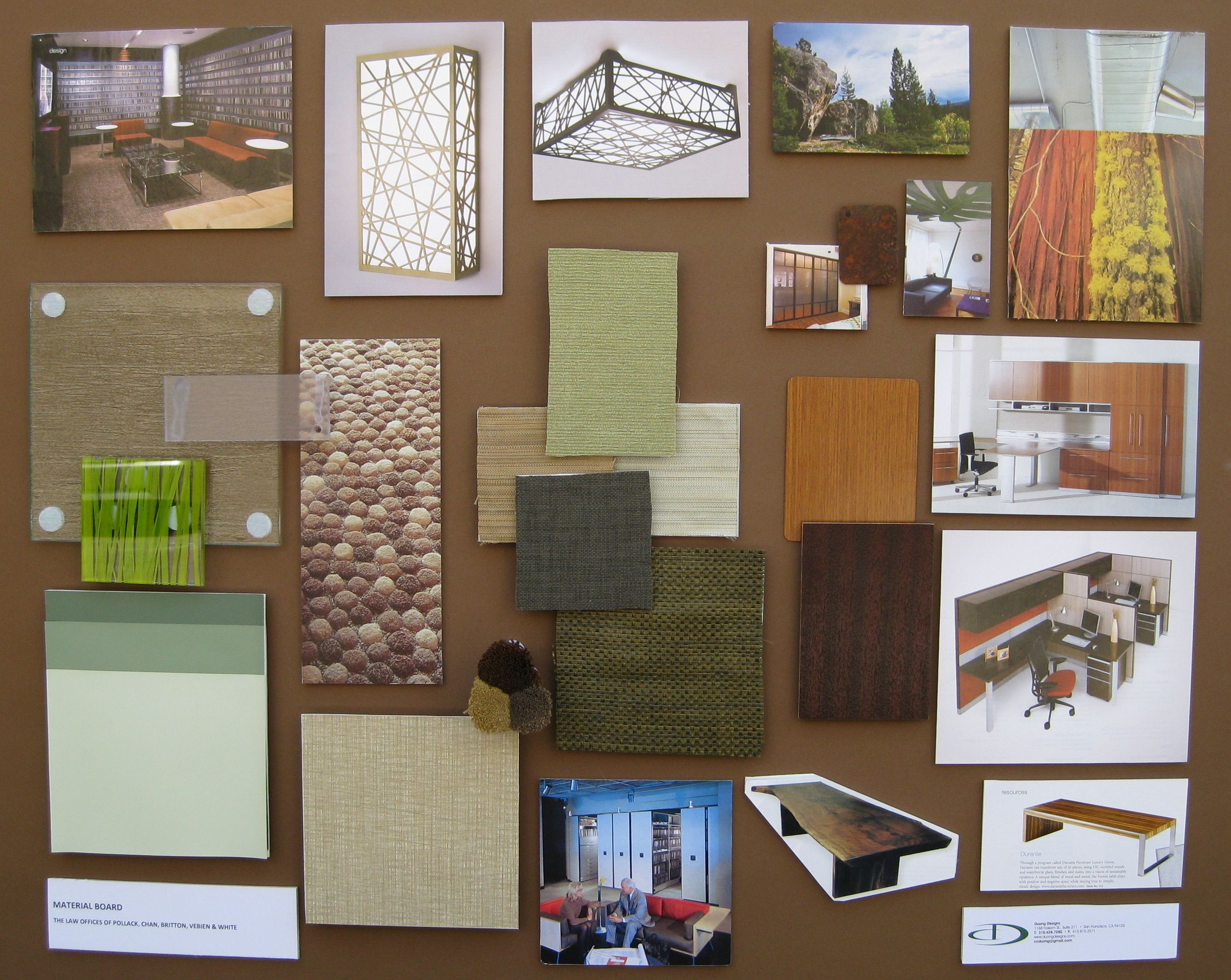 Interior design concept development boards duong designs for Interior decoration with waste material
