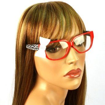 7bfd7a0631 3D Ribbon Bow Fake Clear Lens Spring Hinges Eyeglasses Glasses Red Animal  Pr Red SK Hat