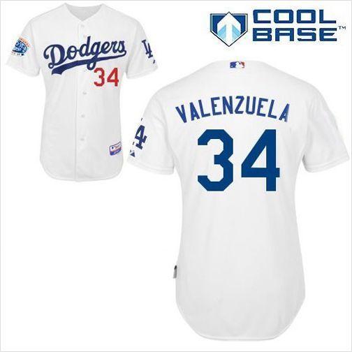 Mens Los Angeles Dodgers Valenzuela 34 White Authentic MLB Baseball Jersey  on eBid United States 9f9eeee82eb