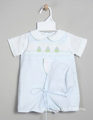 NWT Petit Ami Boys Blue Smocked Romper Bubble Hat Newborn Classic Baby Smocking