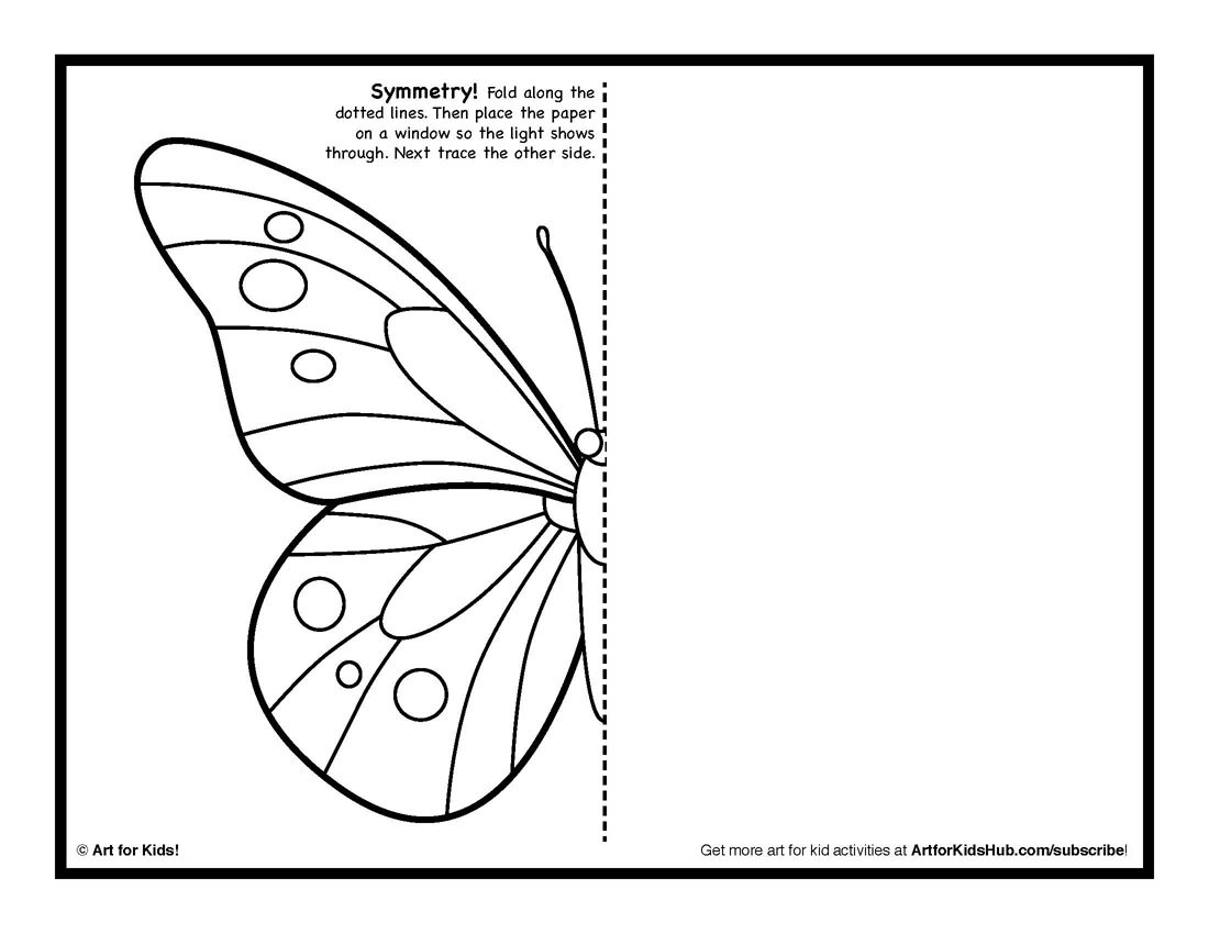 Butterfly coloring page symmetry -