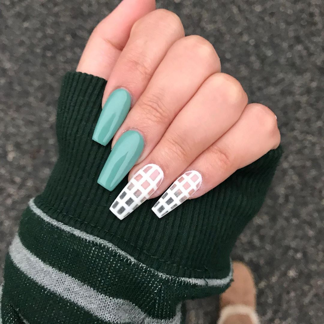 Nails By Chelsea On Instagram Polygel Fullset With Gel Polish And Geometry Accent Nails What S Polygel P Beautiful Nail Designs Coffin Shape Nails Nails