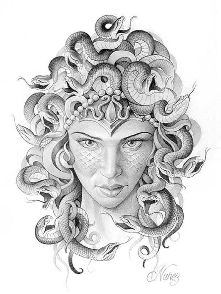 Turn To Stone By Alex Nunez Medusa W Snakes Tattoo Canvas Art Print