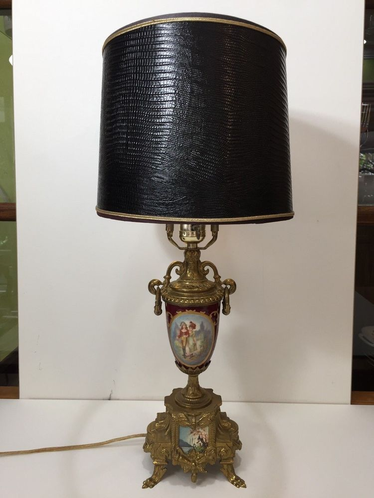 Vintage Brass Porcelain Handpainted Urn Vase Footed Table Lamp Made In Italy Lamp Table Lamp Urn Vase