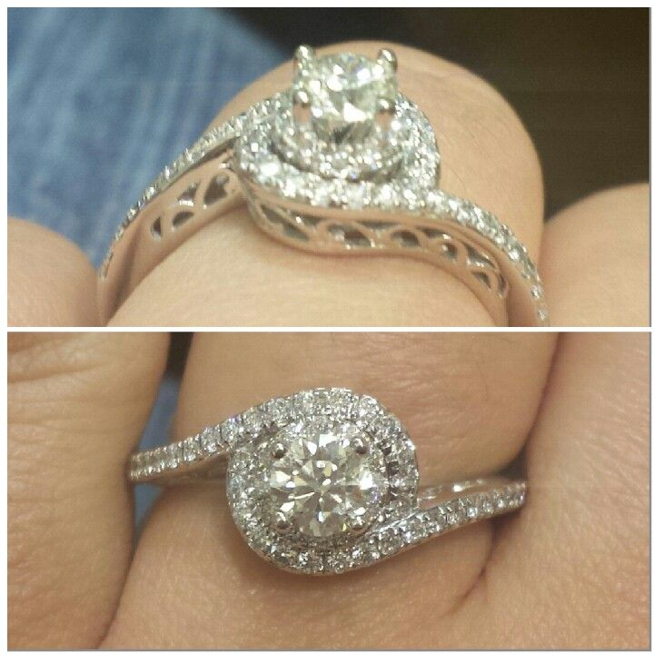 Cute Gorgeous Halo Engagment Ring Kay Jewelers Tolkowsky kt white gold