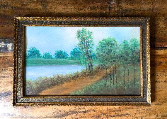 Antique Wood Frame with Gorgeous Pastel by HoneyBeeHillVintage