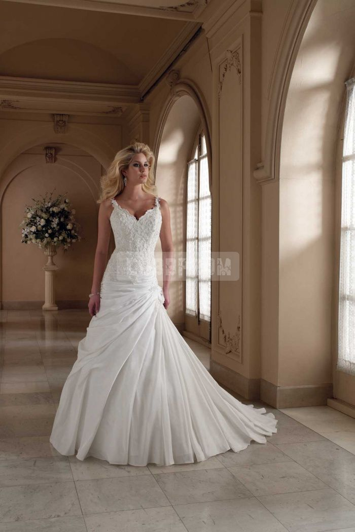 Applique Straps Slee Taffeta Lace-up Wedding Dress