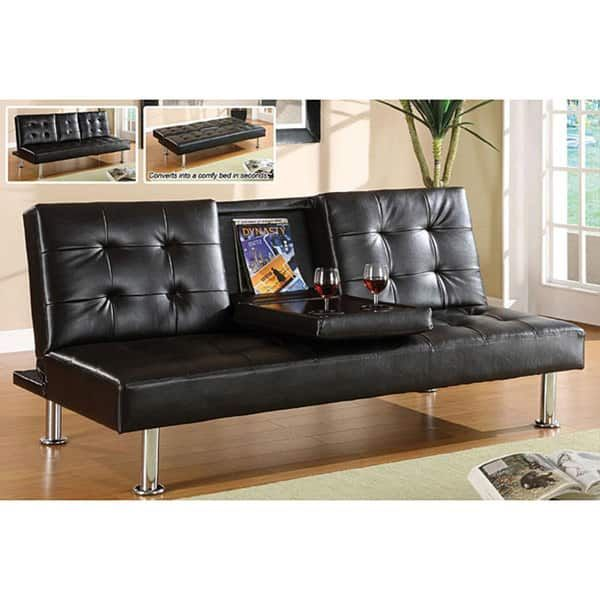 Furniture of America Yorkville Modern Bicast Leather Sofa ...