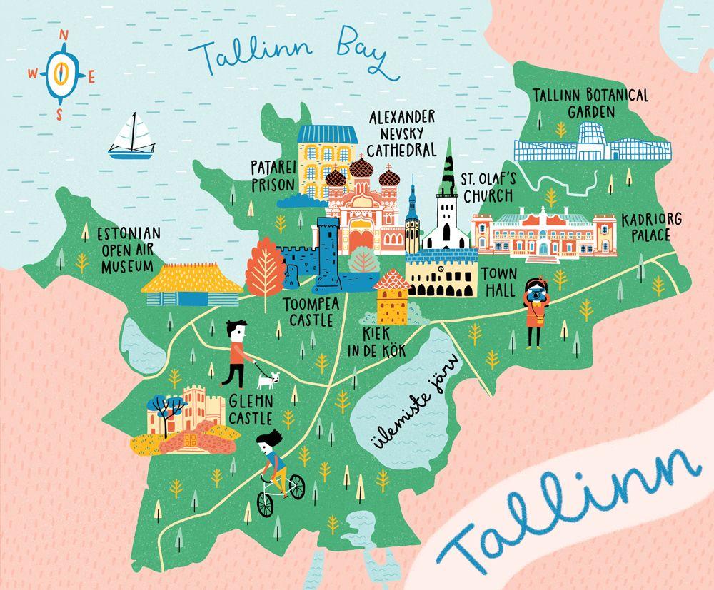 Map Of Tallinn Map Illustration In 2019 Estonia Travel Map