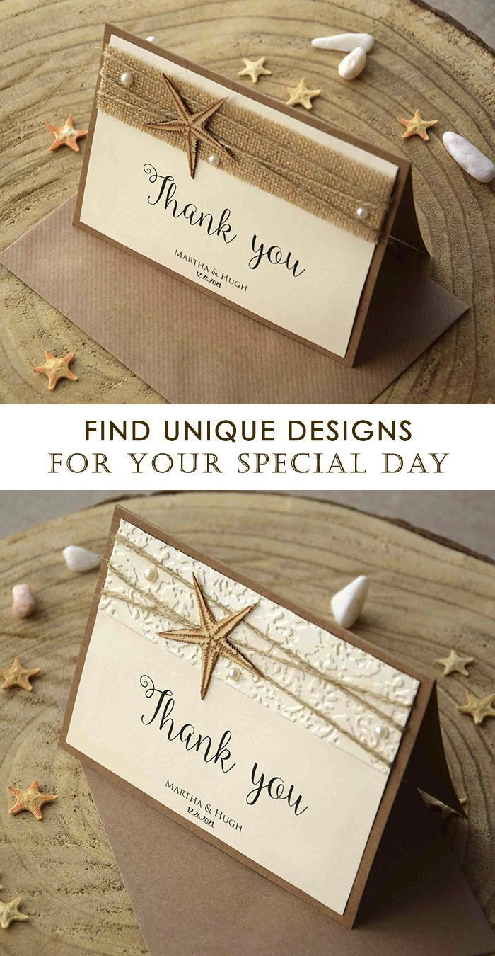 Surprise your guests with your personalized Rustic Beach Wedding Thank You Cards. These Thank You Cards are made with wooden starfish, twine and ivory cardstock with shimmer.  #weddingstationery #weddingtabledecor #beachwedding #thankyoucards #starfish #burlapstationery #weddingthankyoucards #thankyou #beachthankyoucards #uniquethankyoucards #beach wedding invites Rustic Beach Wedding Thank You Cards, Folded Starfish Thank You Notes