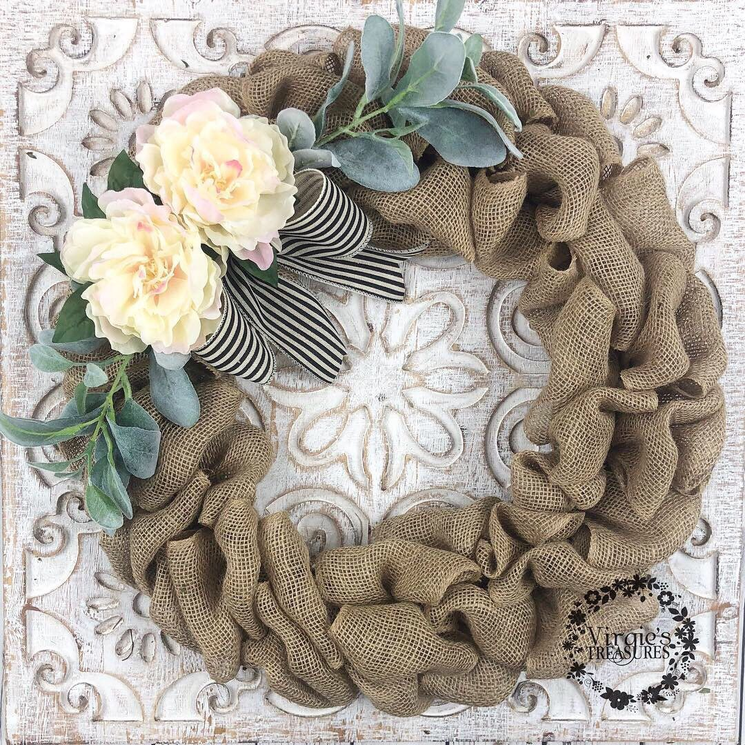 Photo of Farmhouse Burlap Wreath, Blush Peony and Lamb Ears Wreath, Front Door Front Wreath, Spring Wreath, Summer Wreath, Everyday Wreath