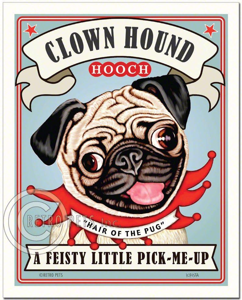 Pug Art Fawn Dog Wall Art Dog Decor Clown Hound Kitchen Decor Pug Lover Pug Art Print Dog Art Print Dog Lover Gift Unframed Pug Art Pugs Dog Print Art
