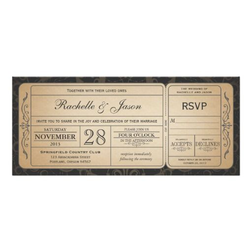 Vintage Wedding Ticket Invitation With Rsvp  Wedding  Vintage