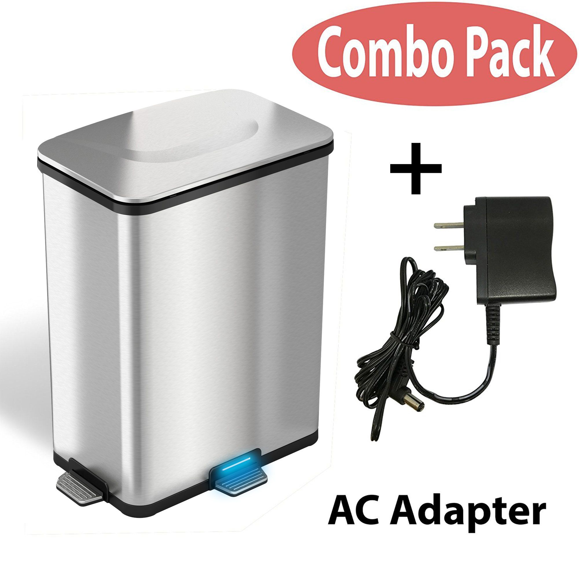 Itouchless Autostep 13 Gallon Stainless Steel Sensor Step Kitchen Trash Can Pro With Ac To View Further For This Item Kitchen Trash Cans Trash Trash Can