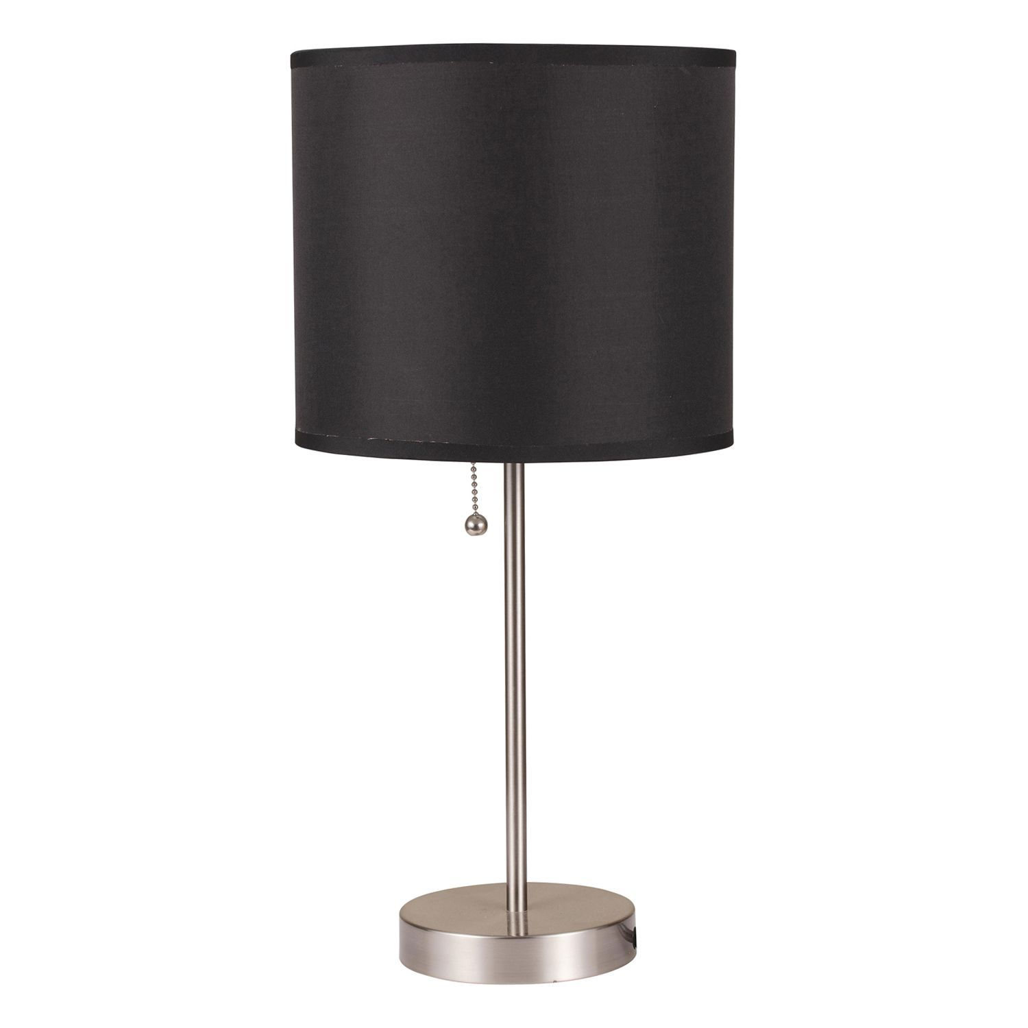 Vassy Brushed Silver 2 Piece Table Lamp Set With Black Shade